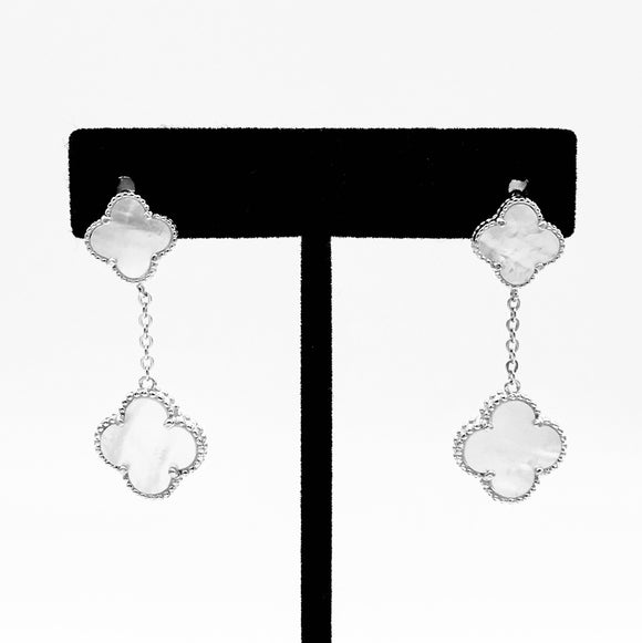 Double Clover Drop Earrings