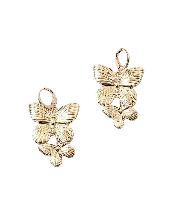 Double Butterfly Hanging Earrings