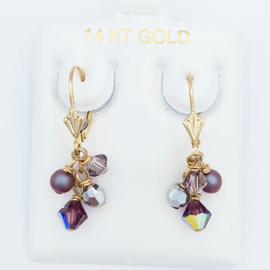 14kt Gold Plum Cluster Leverbacks