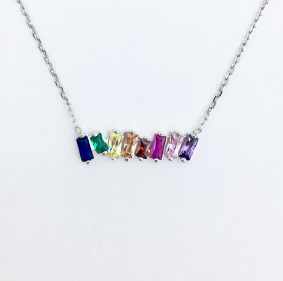 Rainbow Bar Necklace II - Silver