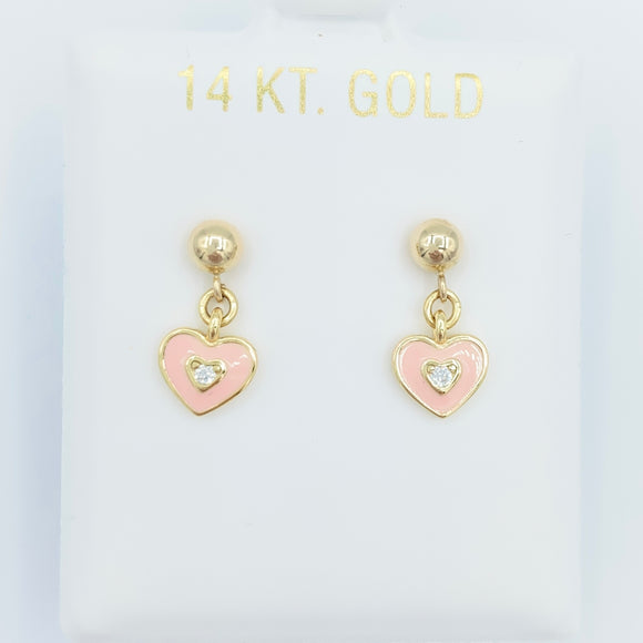 14kt Gold Heart Drops - Pink