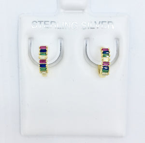 925 Mini Baguette Rainbow Hoops