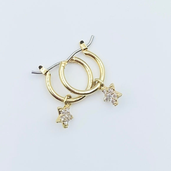Gold Studded Star Hoops