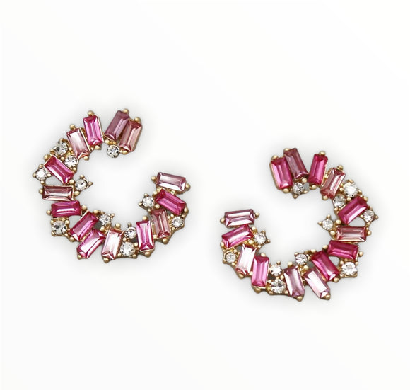 Goddess Glass Stone Earrings 4.0 - Fuchsia