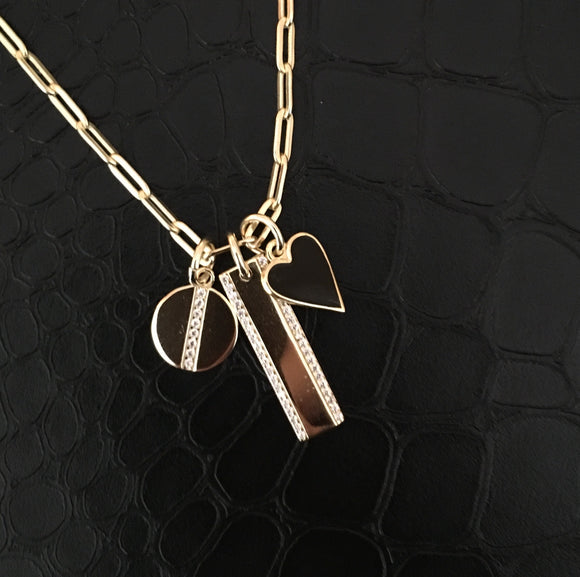 Gold Linear Charm Necklace