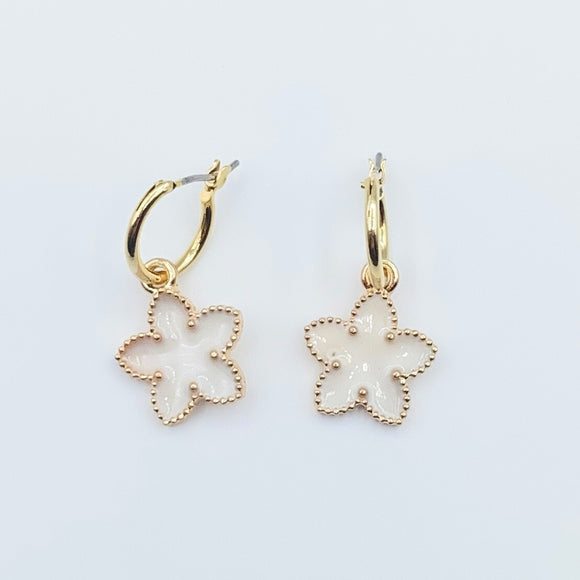 Enamel Flower Hoops