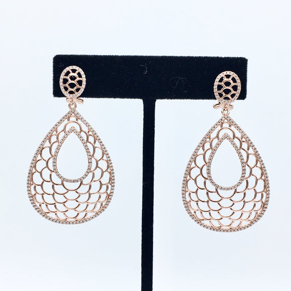 Rose Gold Pear Earrings