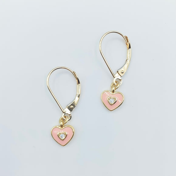14kt Enamel Heart Leverbacks