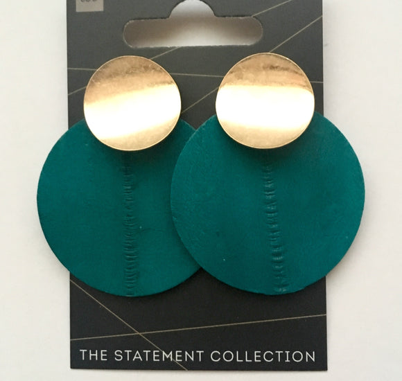 Leather Statement - Ocean Green Circles