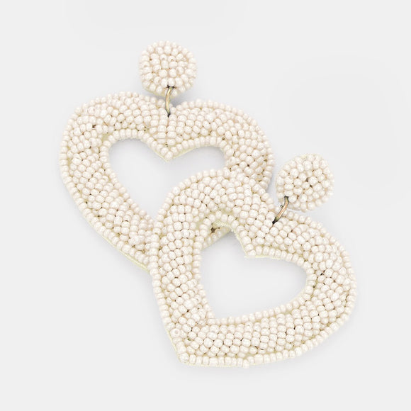Beaded in the Tropics - White Hearts