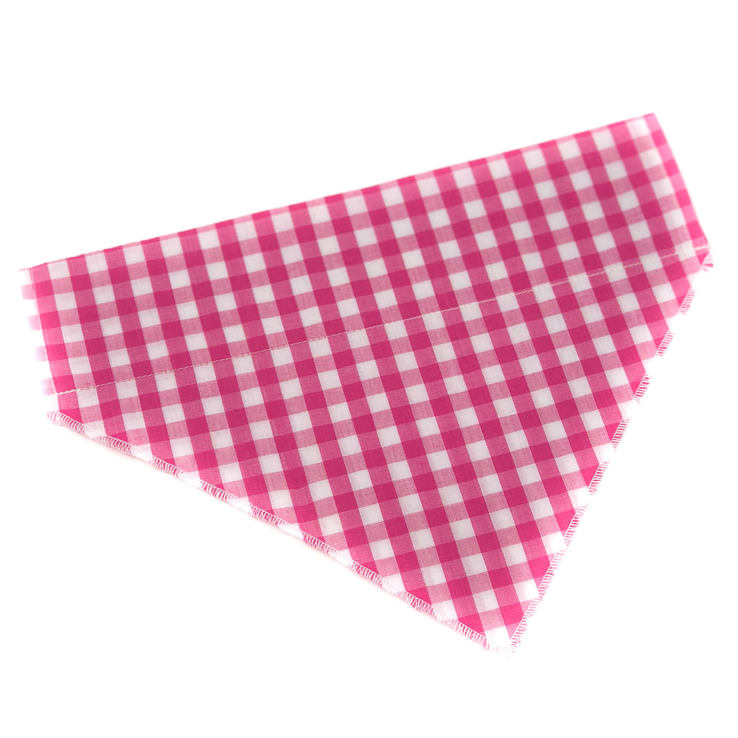 Pup and People Dog Bandana Pink Check Print