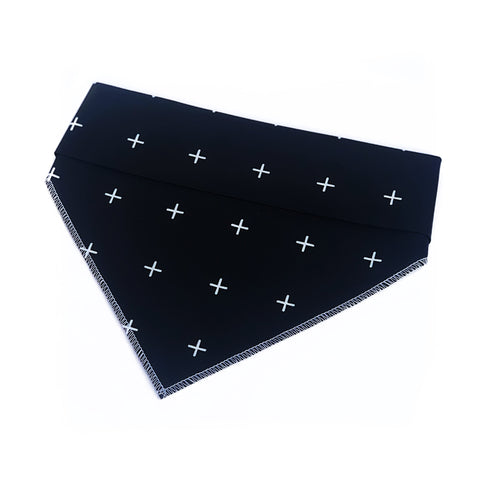 Black Cross Tie On Dog Bandana