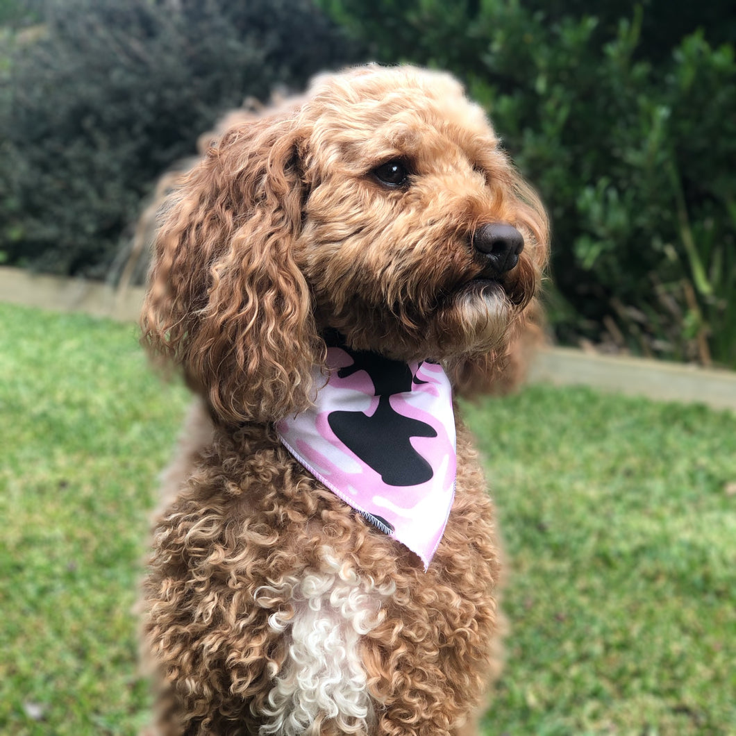 Pink Camo Tie On Dog Bandana