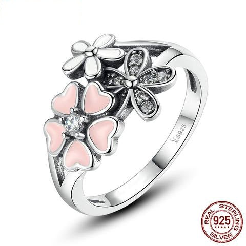 Pink Daisy Flower 925 Sterling Silver Classic Fashion Ring