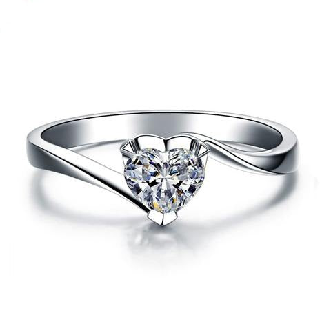 Heart Shaped Simulated CZ 925 Sterling Silver Solitaire Engagement Wedding Band Ring