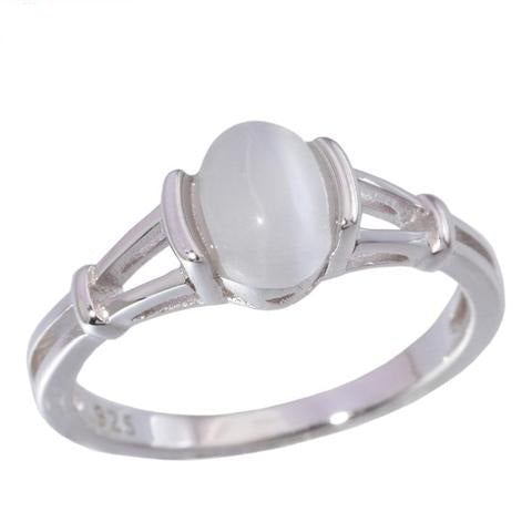 Lab White Opal 925 Sterling Silver Wedding Ring for Women
