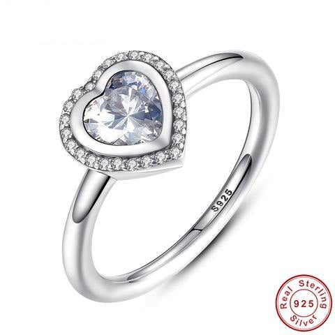 Simulated CZ 925 Sterling Silver Sparkling Love Heart Ring For Women