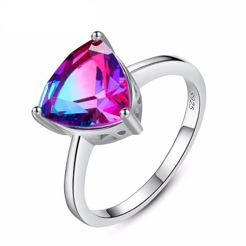 925 Sterling Silver Simulated Rainbow CZ Wedding Anniversary Ring