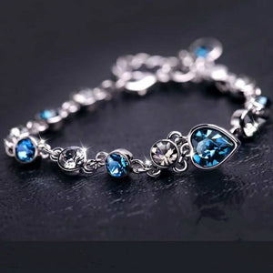 925 Sterling Silver Simulated Blue Sapphire Bracelet