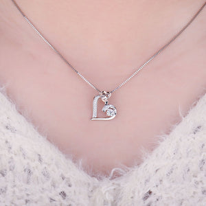 925 Sterling Silver Two Heart Pendant Without Chain