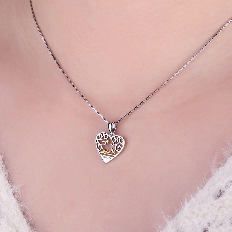 925 Sterling Silver Bird Family Pendant Without Chain