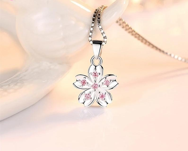 925 Sterling Silver Charm Design Box Chain Flower Necklace
