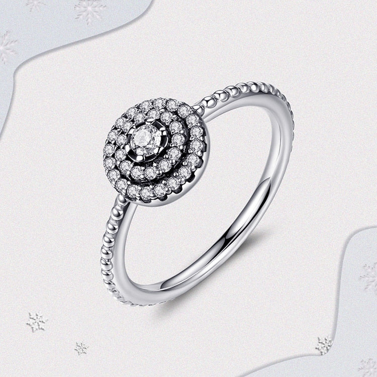 925 Sterling Silver Round Clear CZ Women Engagement Ring
