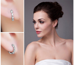 925 Sterling Silver Simulated Cubic Zirconia Hoop Earrings