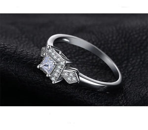 925 Sterling Silver Princess Cut Simulated CZ Wedding Anniversary Engagement Ring