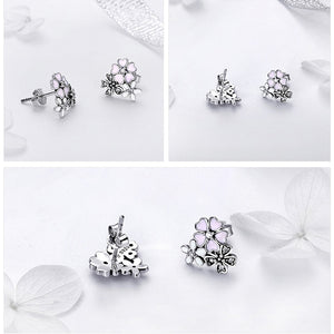 925 Sterling Silver Cherry Blooms Flowers Stud Earrings
