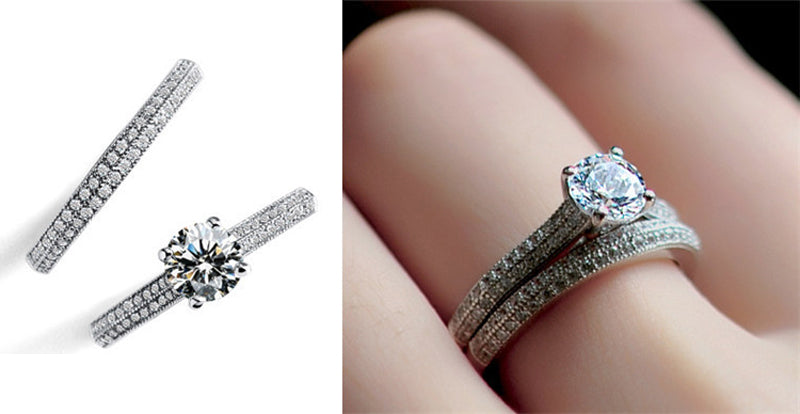 2Pcs 925 Silver Simulated Round CZ Engagement Wedding Ring Set for Women