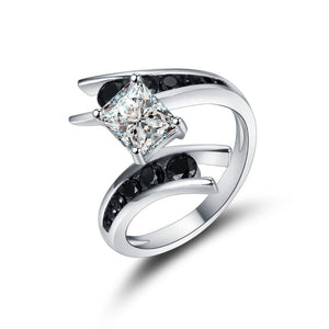 925 Sterling Silver Simulated Black & Clear CZ Engagement Ring