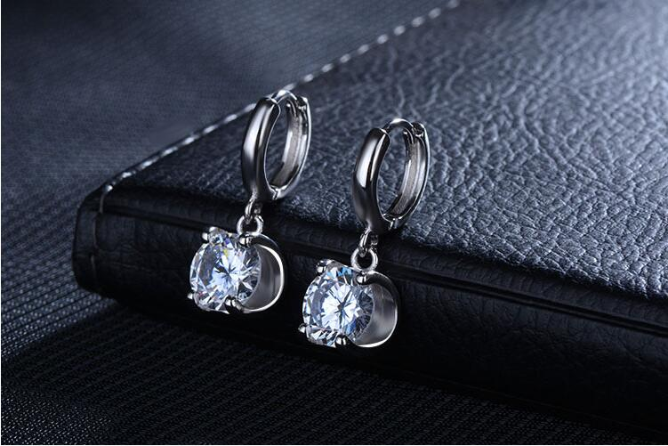 925 Sterling Silver Simulated Clear Cubic Zirconia Stud Earring