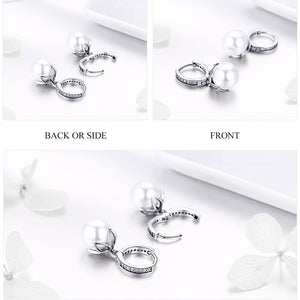 925 Sterling Silver Created Pearl Simulated CZ Stud Earring