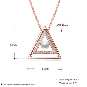 Triangle Pendant Necklaces 925 Sterling Silver