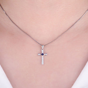 925 Sterling Silver Simulated Blue Sapphire Cross Heart  Pendant Without Chain