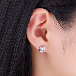 925 Sterling Silver Love Heart Simulated CZ Stud Earring