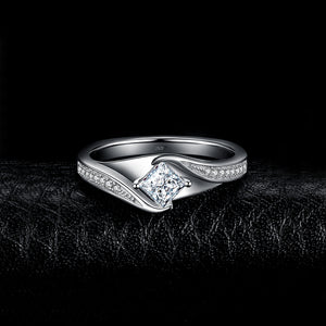 925 Sterling Silver Princess Cut Simulated CZ Wedding Engagement  Ring