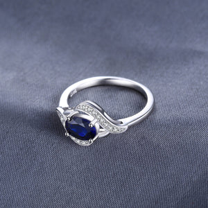 925 Sterling Silver Simulated Blue Sapphire Halo Engagement Ring