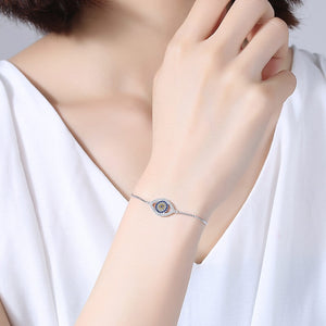 925 Sterling Silver Simulated CZ Evil Eye Tennis Bracelet