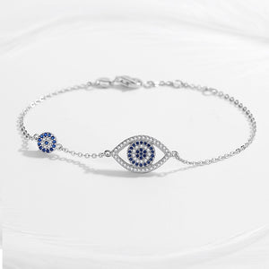 925 Sterling Silver Simulated CZ Hamsa Evil Eye Bracelet