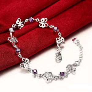 925 Sterling Silver Simulated CZ Crystal Butterfly Heart Bracelet