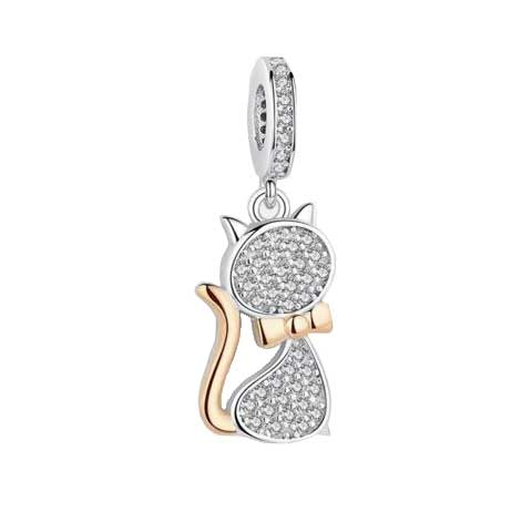 Lovely Cat Charm Beads Pendant With Real 925 Sterling Silver