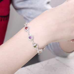 925 Sterling Silver Simulated Multi Color CZ Bracelet