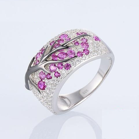 Ruby & Clear Simulated CZ 925 Sterling Silver Party Wear Ring