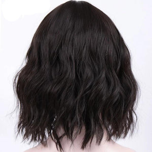 Synthetic Short Curly Natural Brown Black Color Hair  Wig