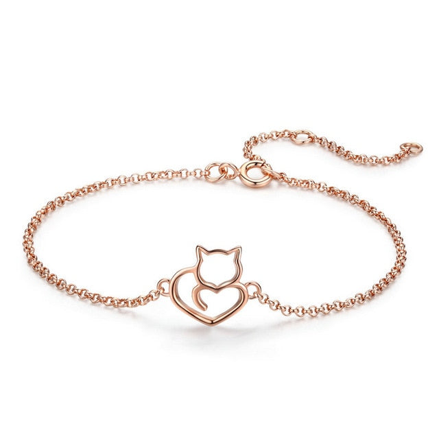 925 Sterling Silver Cat and Heart Link Chain Bracelet