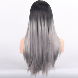Synthetic Long Straight Hair Wig For Woman Black Gray Color