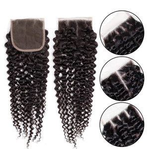 Brazilian Remy Human Hair Kinky Curly Hair Closure With Baby Hair