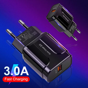 Quick Charging 3.0 USB Charger With Adapter For Mobile Phones